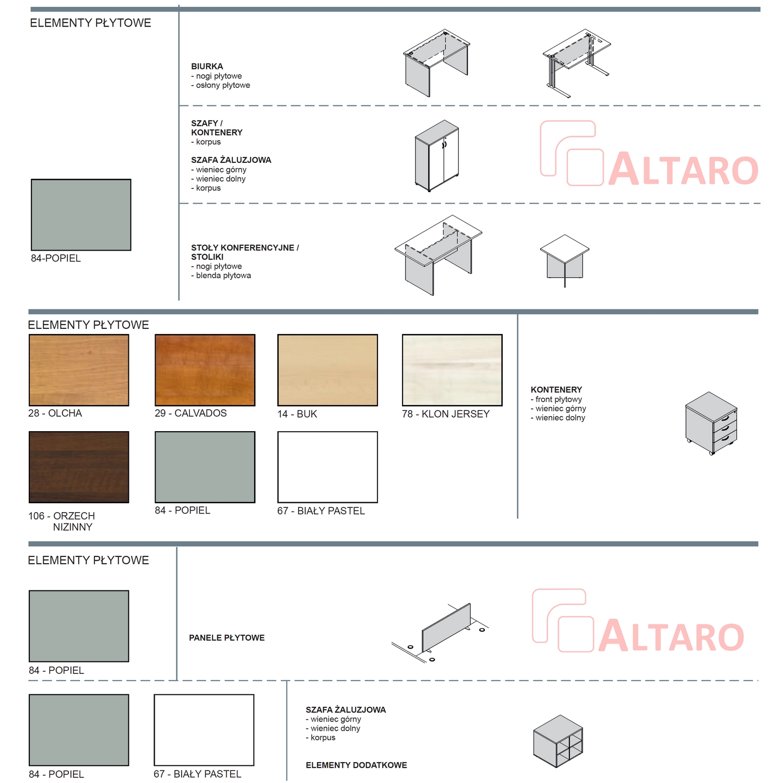 tanie meble biurowe ALTARO - kolory v2; wzornik