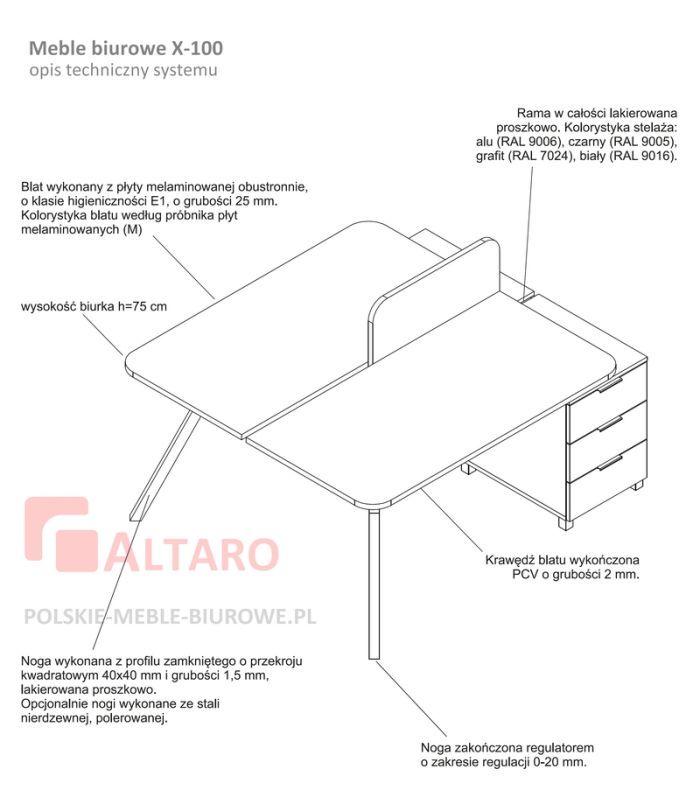 meble biurowe X100 opis techniczny ALTARO