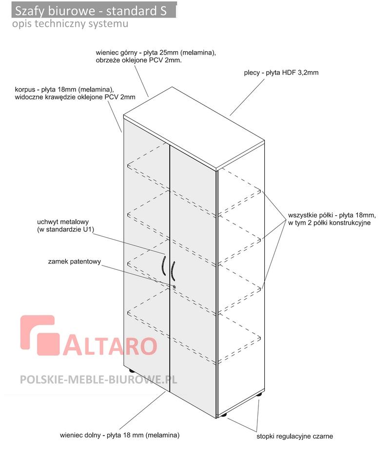 szafy biurowe standard S opis techniczny ALTARO