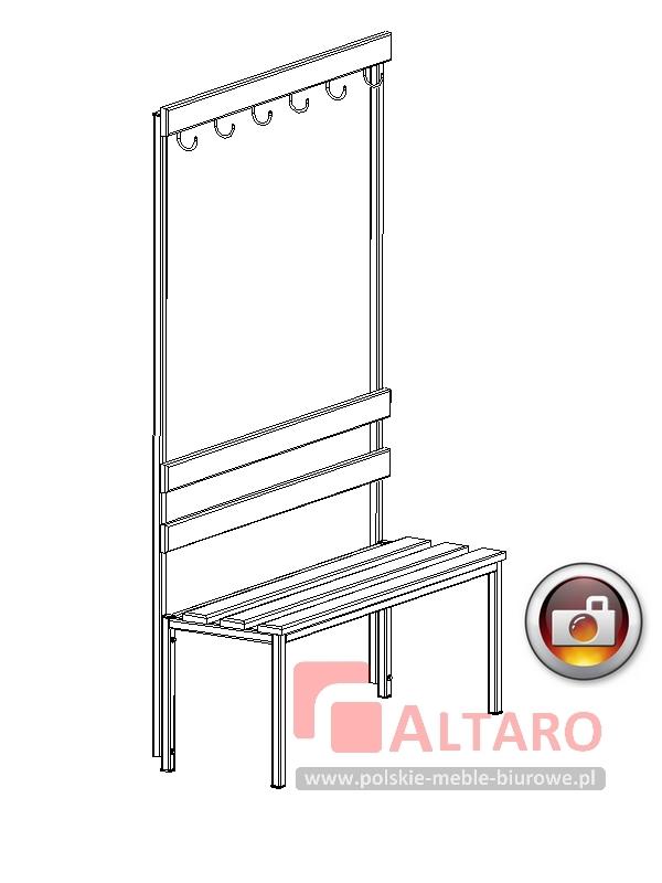 ławka do szatni z haczykami socjalna BHP na stelażu metalowym Altaro