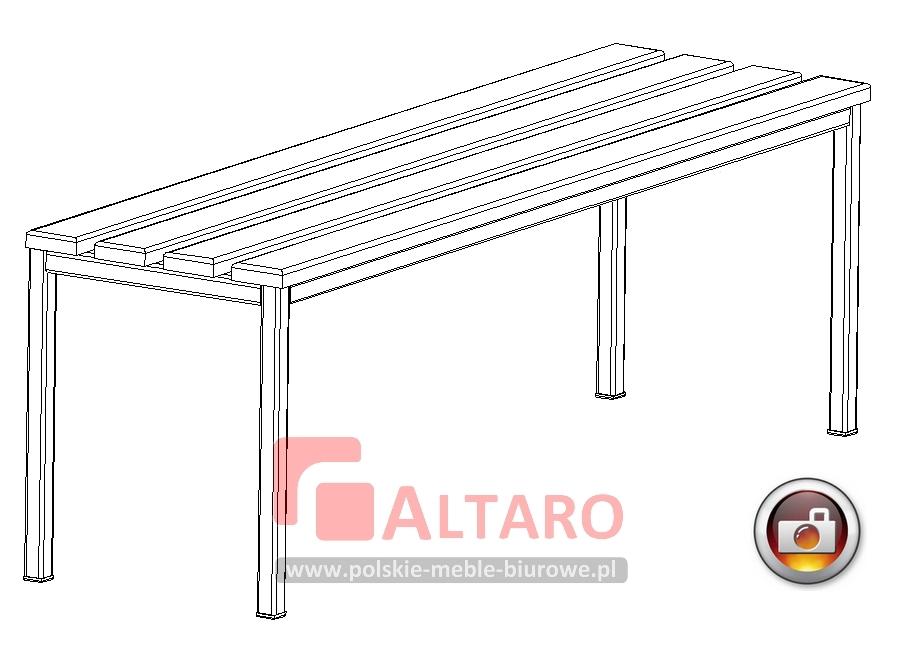 ławka do przebieralni szatni socjalna BHP drewniana na stelażu metalowym Altaro