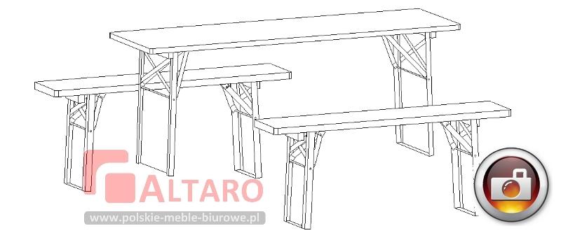 stół i ławki do szatni jadalni zestaw socjalny jadalniany BHP Altaro