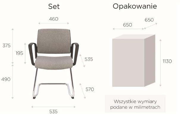 krzeslo set wymiary