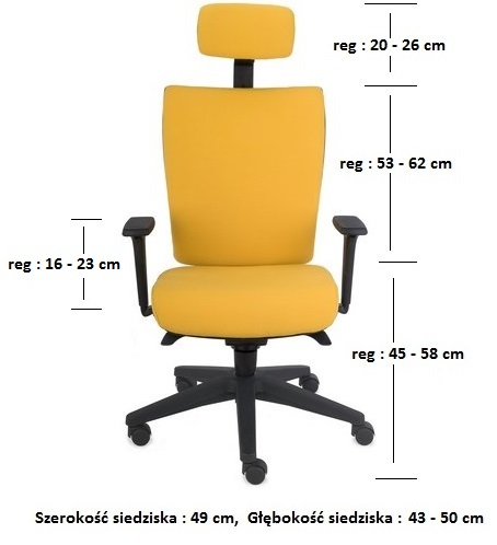 krzesło biurowe kim hd wymiary