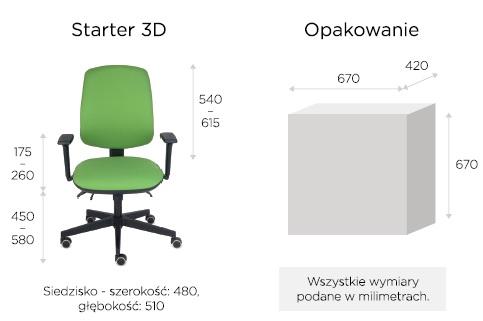 krzesło biurowe starter wymiary
