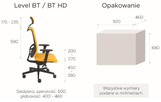 krzesło biurowe LEVEL BT HDwymiary