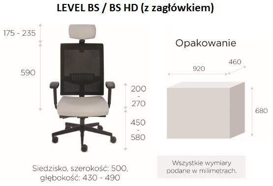 krzesło biurowe LEVEL BS HD black wymiary