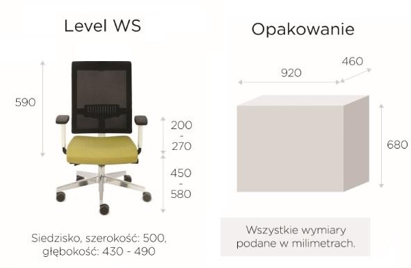 krzesło biurowe LEVEL WS chrome wymiary