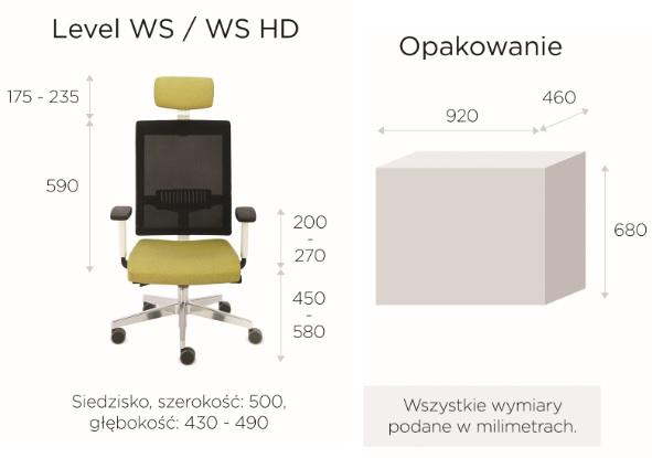 krzesło biurowe LEVEL WS HD chrome wymiary