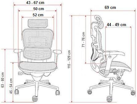 krzesło biurowe Ergohuman Plus Elite BT wymiary