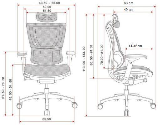 krzesło biurowe IOO WS wymiary
