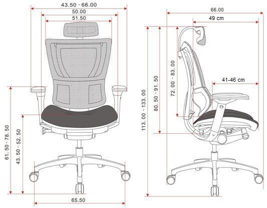 krzesło biurowe 100 BT wymiary