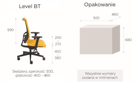 krzesło biurowe LEVEL BT wymiary